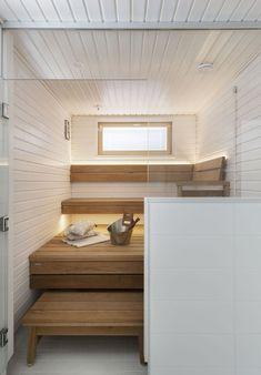 White, pure, chic and cleansing Sauna Design, Cabin Design, House Design, Interior Design Videos, Finnish Sauna, Spa Rooms, Sauna Room, Saunas, Home Spa