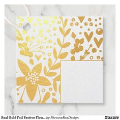 Shop Real Gold Foil Festive Flowers Foil Favor Tags created by PhrosneRasDesign. Creative Gift Wrapping, Gift Wrapping Paper, Creative Gifts, Gift Ribbon, Thing 1, Christmas Gift Tags, Craft Party, Favor Tags, Gold Foil