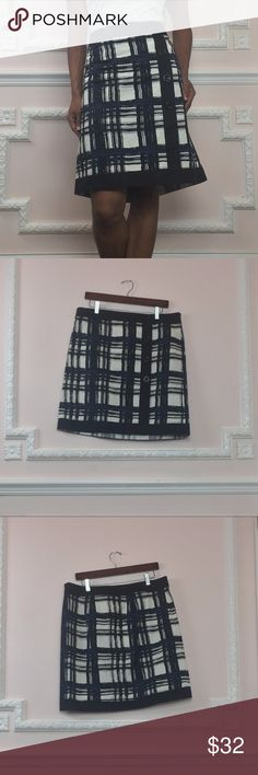 Ann Taylor Plaid Skirt Cute Blue Cream 12 Gently used - good condition- no flaws- Skirt is pinned on me as it is not my size but I am 5'2 for reference Flat measurements: Length 21 inches Waist 36 inches Hip 44 Inches Decorative buttons at front- Hidden side zip Perfect Office Wear- short enough to show your legs but still conservative. Great buy from a designer brand at an incredible price. Thick no stretch material -see pics for fabric content. Visit and follow my closet for hundreds of…