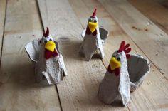 Slepičky z kartonu od vajíček - Z kartonových výlisků od vajíček si můžete vyrobit ty velikonoční slepičky.