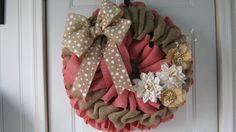 Spring Coral Burlap Wreath Shabby Rustic by wreathsplusbylyn, $60.00
