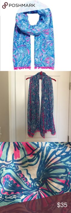 """Lilly Pulitzer for Target """"For My Fans"""" Scarf Great Lilly Pulitzer for Target Sarong/Scarf/Wrap Pattern: For My Fans Hot Pink and Blue with Hot Pink Pom-Poms Measurements: 70""""L x42""""W Super Cute! Lilly Pulitzer for Target Accessories Scarves & Wraps"""