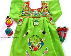 Emily Mexican Embroidered Yellow Baby Dress por MexicanartDesigns