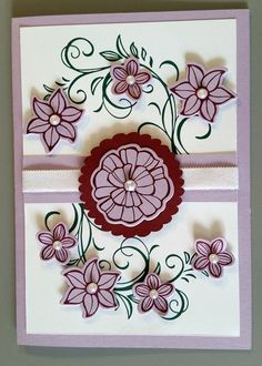 Having so much fun combining my new stamp sets with ones I already have. This card is an example of that. My sister was up and we each made one of these using a similar design. The branches are stamped from Stampin Up's Falling Flowers stamp set using Tranquil Tide ink. The flowers on this one are from their Falling Flowers set (using the May Flower Framelits dies). We both used some pearls to embellish the cards and Rich Razzleberry ink for the flowers.