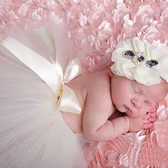 Tutu Dress and Headband Princess Fancy White Baby Girl Photography Prop Outfit WeddingNewborn Infant