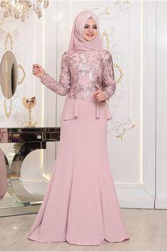 Pınar Şems - Hatun Abiye - Pudra Muslim Gown, Muslim Evening Dresses, Hijab Evening Dress, Hijab Dress Party, Hijab Style Dress, Dress Brukat, Kebaya Dress, The Dress, Muslimah Wedding Dress