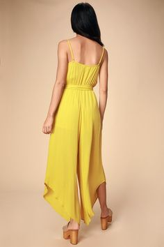 2494899cbeae Lulus | She's on Vacation Mustard Yellow Wide-Leg Jumpsuit | Size Large |  100% Rayon