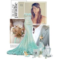 The Little Mermaid Wedding by pippi-loves-music on Polyvore featuring Christian Louboutin, Love 21, Allstate Floral, Waterford and Just Diamond