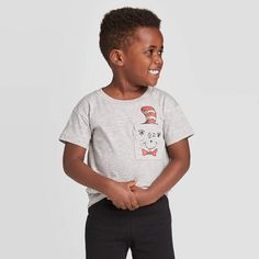 Seuss Cat in the Hat Pocket T-Shirt - Light Gray Boy's Red Bow Tie, Free Girl, Toys For Girls, Girl Toys, Grey Shorts, Toddler Boys, Short Sleeve Tee, T Shirt, Hat