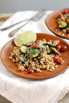 toasted couscous salad with zucchini & grapes: this was delicious and easy, cant wait to make again.