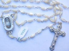 Lourdes Water Mother of Pearl Lourdes Rosary.