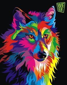 RUOPOTY diy frame Colorful Wolf DIY Painting By Numbers Calligraphy Painting Kit Animals Modern Wall Art Picture For Home Decor-. Oil Painting Pictures, Wall Art Pictures, Pictures To Paint, Abstract Pictures, Wolf Painting, Diy Painting, Painting Tools, Painting Prints, Arte Pop