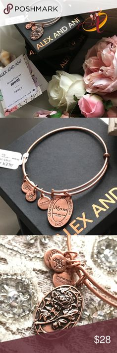 """Alex and Ani Mom Charm Bangle in Rose Gold Alex and Ani is a perfect gift for mom! This beautiful bangle is crafted in their Rafaelian Rose Gold finish. The charm features the peony, often regarded as the """"queen of the garden"""". It symbolizes generosity, heroism, and most importantly, love. Expandable from 2"""" to 3.5"""". Charm is oval shaped and measures 0.65"""" x 1"""". Price is firm unless bundled. Alex & Ani Jewelry Bracelets"""