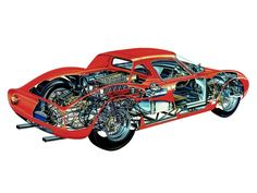 Ferrari 250 LM cutaway by Ferrari F40, Ferrari Racing, Lamborghini Gallardo, Sports Car Racing, Sport Cars, Race Cars, F1 Racing, Drag Racing, Cutaway