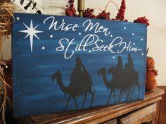 Primitive Sign Christmas Wise Men Still Seek Him Bethlehem Star | eBay
