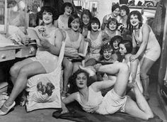 The Hoffman Girls backstage before an appearance at the Moulin Rouge, Paris, 1924