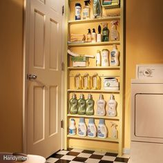 The space behind a door is a storage spot that's often overlooked. Build a set of shallow shelves and mount it to the wall behind your laundry room door. The materials are inexpensive. Measure the distance between the door