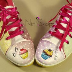 Cupcake Obsession Kawaii Shoes, Custom Shoes, Happy Day, Magenta, Cupcake, Girly, Sneakers, Sweet, Cute