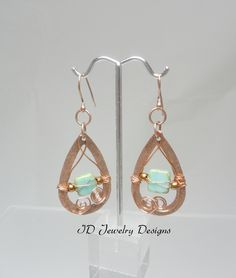 Copper Teardrop with Turquoise Glass Beads Wire wrapped Dangle Earrings by IDJewelryDesigns on Etsy