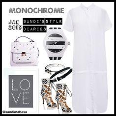Monochrome featuring #FabroSanz dress and #ErabyDjZinhle accessories