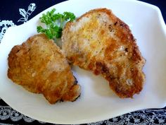 BREADED FRIED PORK CHOPS   These pork chops couldn't be tenderer and the breading was perfectly tasty. I think a regular flour ...