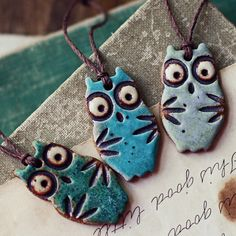 LOVE THESE! SALE Festive Owls handmade ornaments tags favors 3 by kylieparry, $28.00