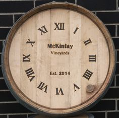 Woodburned wine barrel clock face