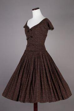 Vintage Dress Love.........Lovely 50s Vtg Brown Black Floral Cocktail Dress | eBay
