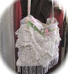 Layered Doily Purse handmade gorgeous in a por TatteredDelicates