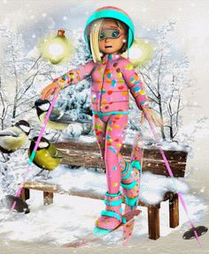 DesignByNettis: HAPPY WEEKEND ♥ This little #girl who is ready 2 #ski is popping in to wish YOU ALLa #happyweekend ahead ♥ (this set can be found HERE: http://designbynettis.blogspot.se/2016/11/girl-ready-2-ski-set-and-freebie.html ) #weekend #wintertime #designbynettis #snow #snowfall #winterfun #gifoftheday #gif #winter2016