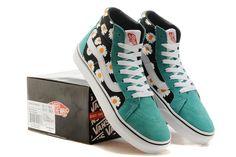 VANS Vans new mint green chrysanthemum couple shoes 36-4310 #Vans