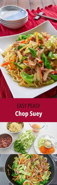 My tips and tricks for making the best Chop Suey, an easy stir-fry of vegetables and meat with a light sauce on a bed of noodles or rice.