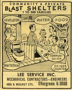 1960s Bomb Shelter Ads I remember the bomb raid safety practice in elementary school. Hiding under our desks, curled up and covering our heads with our hands. Used to scare the living hell out of me!