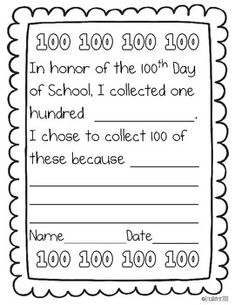 100th day of school activities and printables for k 2