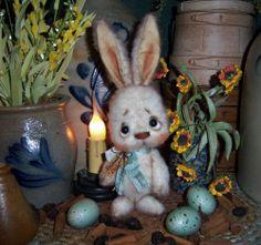 "Primitive Spring Fuzzy Rabbit Bunny 5"" Doll Vtg Patti's Ratties Easter Hare Bear"