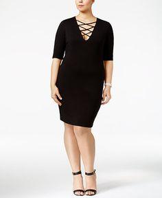 Soprano Trendy Plus Size Lace-Up Dress - Dresses - Plus Sizes - Macy's