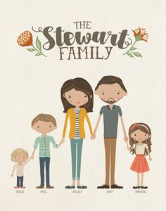 Custom Illustrated Family Portrait Customizable by InkLaneDesign