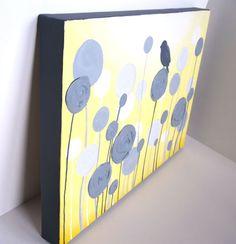 Vivero amarillo y gris texturizado arte por MurrayDesignShop, $69,00