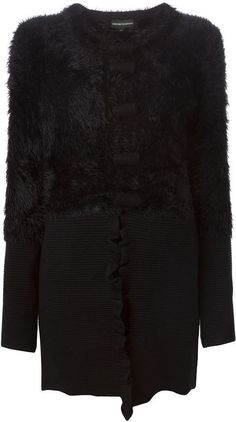 $226, Emporio Armani Faux Fur Panelled Coat. Sold by farfetch.com. Click for more info: https://lookastic.com/women/shop_items/340834/redirect