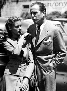 "Humphrey Bogart and Lauren Bacall with her whistle charm bracelet.    Bogey gave this bracelet to her in reference to Bacall's famous line from their first movie together, To Have and Have Not. It's inscribed with the phrase, ""If you want anything, just whistle."" Correct me if I'm wrong, but I believe I've read somewhere that the bracelet was buried with Bogey upon his death in 1957. (never heard that...)"