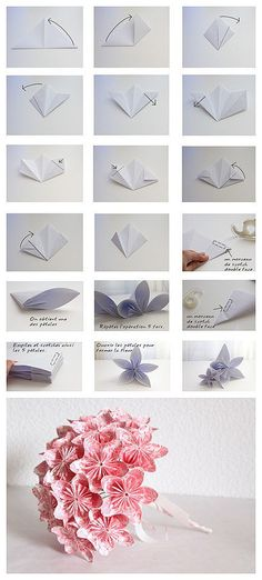 Step-by-step Tutorial on how to fold small handmade Origami Flowers, and make into a tiny bouquet. Found on diyandcrafts.com.