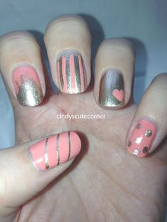"""Hello cuties :) The first Nail Art Design for the Weekly Challenge is """"Favourite Colour"""". Have fun with my Peach and Gold Nail Design! Gold Nail Designs, Sally Hansen, Mani Pedi, Nails Inspiration, Favorite Color, Peach, Polish, Game, Makeup"""