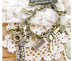 Gold vintage hairstylist charm bracelet by Jcafterhours on Etsy
