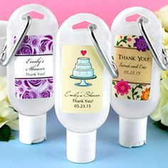 Personalized hand sanitizers are the perfect favor to help keep your family and friends germ free. These travel size bottles have a convenient carabiner making them perfect for wedding receptions, guest hotel bags, bridal showers, anniversaries or any special celebration. Wipe away unwanted germs while keeping hands soft with aloe enriched hand sanitizer favors. Personalized hand sanitizer makes a great favor whether purchased alone or with a matching sunscreen favor.