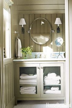 Wainscoting Bathroom on Bedroom Bathroom Contractors Oct Shabby Chic Cottage Bathroom White Lake Cottage, Cottage Style, Cottage Chic, Farmhouse Style, Chicken Wire Cabinets, Penny Tile, Bathroom Inspiration, Bathroom Ideas, Bathroom Renovations