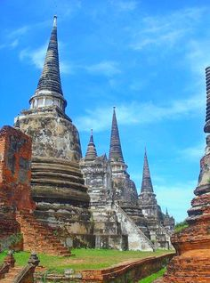 Impressive temples of Ayutthaya in Thailand.