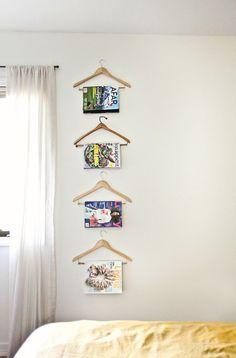 hanging magazines on hangers!