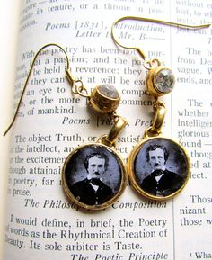 Edgar Allan Poe Dangle Earrings by #ThisTimeNextTuesday on #Etsy, 38.00