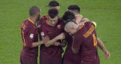 football soccer reactions roma calcio as roma asroma goal celebration nainggolan el shaarawy perotti diego perotti team celebration via diggita