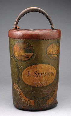 Early American Painted Leather Fire Bucket, Dated 1775 #massachusetts #antique #michaans http://www.michaans.com/highlights/2013/highlights_06072013.php